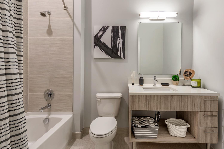 Elegant tile shower and tub combination